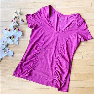 ZELLA ruched pink v-neck shirt size Large